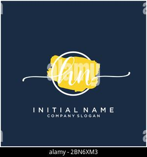 Initial HN handwriting logo with brush template vector - Stock Photo