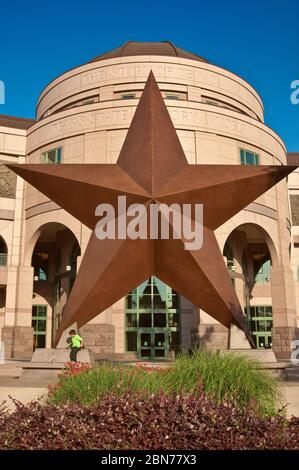 Huge 'Lone Star' in front of Bob Bullock Texas State History Museum in Austin, Texas, USA - Stock Photo