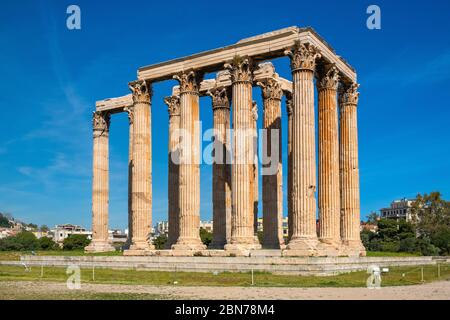 Athens, Attica / Greece - 2018/04/03: Panoramic view of Temple of Olympian Zeus, known as Olympieion at Leof Andrea Siggrou street in ancient city cen - Stock Photo
