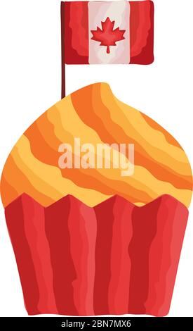 cupcake with canada flag flat style - Stock Photo