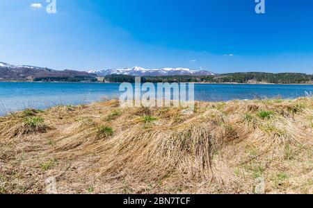 Panoramic view of Vlasina lake in south Serbia at early spring