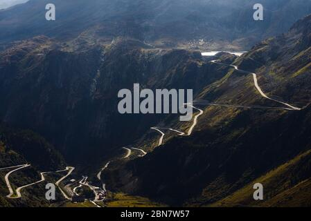 View of Grimsel mountain pass road from Furkapass - Stock Photo