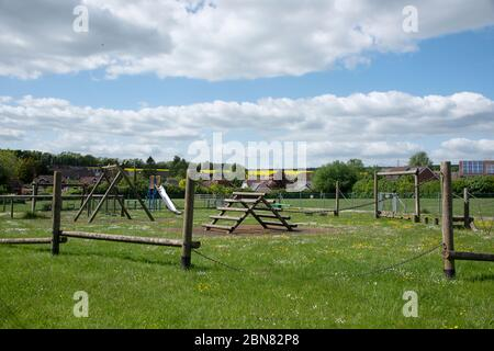 View of an empty childrens playground which has been closed due to Coronavirus.