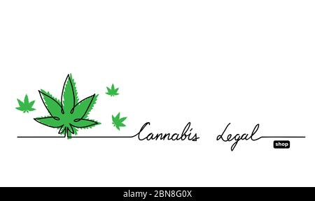 Hemp, cannabis, marijuana, weed legal shop banner. Simple one line drawing vector background with cannabis, marijuana, weed leaf - Stock Photo