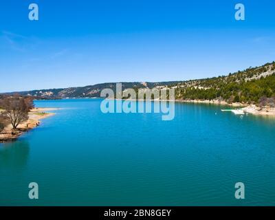 Lac de Sainte-Croix lake and the Verdon Gorge (Gorges du Verdon), Cote d'Azur, Provence, France - Stock Photo
