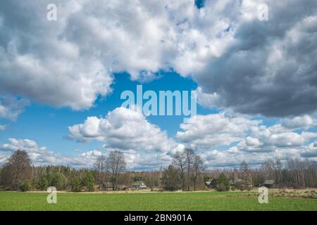 The outskirts of the village in spring. Belarus.