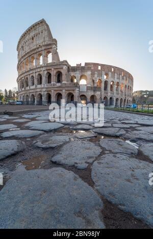 Coliseum in Rome at the sunrise