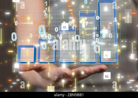Economic graph with diagrams on the stock market, for business and financial concept - Stock Photo