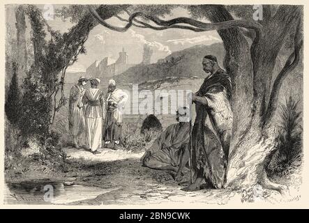 Syrian people in typical dresses costumes syriens. Syria, Syrian Arab Republic. Middle East, Old 19th century engraved illustration, Le Tour du Monde 1863 - Stock Photo