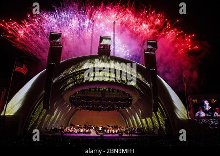 May 13, 2020: FILE: The famed Hollywood Bowl amphitheater in Los Angeles announced Wednesday it will not open for the 2020 season. The venue says the decision was made ''in response to the latests guidance of public health officials and in an effort to protect artists, audiences, and staff from the spread of COVID-19.'' PICTURED: September 30, 2018, Los Angeles, CA, USA: Fireworks light up the night sky as singer Katy Perry performs as Gustavo Dudamel conducts the LA Philharmonic ''Celebrate LA!'' 100th season concert at the Hollywood Bowl in Los Angeles. (Credit Image: © Patrick Fallon/ZUMA W - Stock Photo