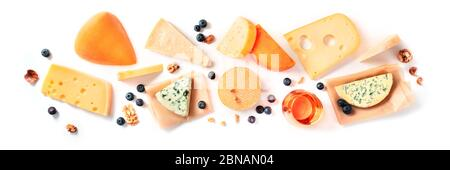 Cheese and wine tasting and pairing, a flat lay on a white background with a place for text. Various cheeses, shot from above - Stock Photo