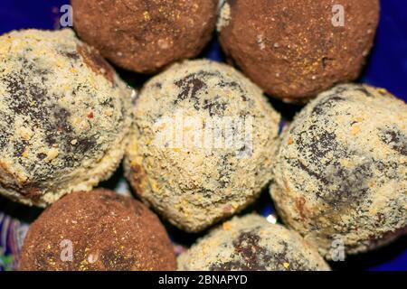 Delicious handmade Bonbon chocolate, assortment of delicious decorative round candies, close-up