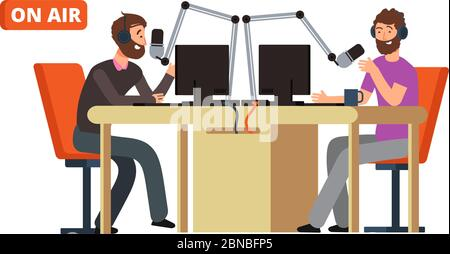 Radio show. Broadcasting radio dj talking with microphones on air. Vector concept broadcast entertainment, broadcasting live illustration - Stock Photo