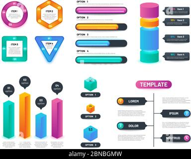 Infographic 3d template. Business charts, graphs and diagrams with options and steps. Vector infographics layout. Step chart and diagram illustration - Stock Photo