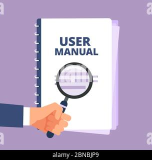 User manual with magnifying glass. User guide document and magnifier. Handbook, handbook, instruction and guidebook vector icon. Illustration of instruction handbook with information help Stock Photo