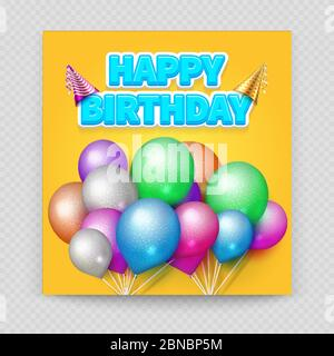 Happy Birthday greeting card vector template with blank paper sheet and colorful realistic balloons isolated on transparent background illustration - Stock Photo