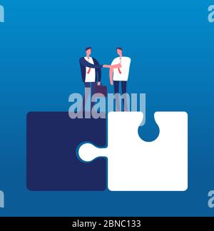 Businessmen with puzzle. Man handshaking on huge puzzles. Partnership cooperation and success teamwork vector business concept. Teamwork and puzzle partnership, handshake and cooperation illustration