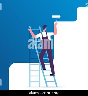 Painter painting wall. Worker on ladder paints home. Repair service and renovation vector concept. Illustration of painter on ladder, worker paint with roller - Stock Photo