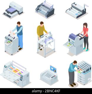 Printing house equipment. Printer plotter, offset cutting machines and people workers. Industrial polygraphy isometric vector icons. Illustration of equipment printer and polygraphy device - Stock Photo