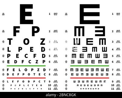 Eyes test chart. Vision testing table, ophthalmic spectacles measuring equipment. Vector illustration. Medical test health optical, sight check examination - Stock Photo