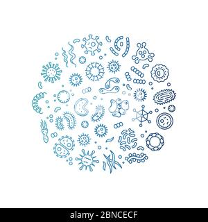 Microbes, viruses, bacteria, microorganism cells and primitive organism colorful line vector concept. Illustration of bacteria and virus, microbe line - Stock Photo