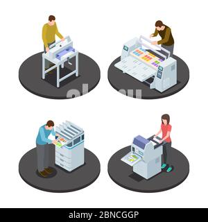 Isometric printing house icons concept with digital rotary large format and offset production types vector illustration. Isometric equipment print industry - Stock Photo