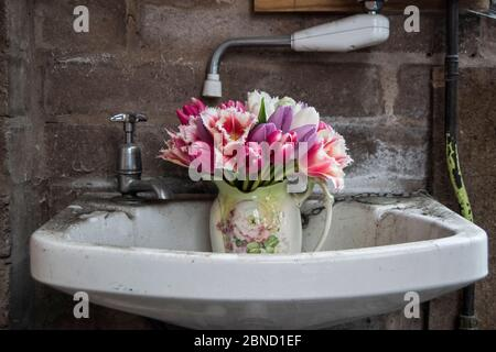 Vase of flowers in a old garage sink - Stock Photo