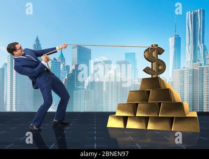 The businessman pulling dollar and gold bullions - Stock Photo