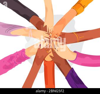 Top view of young people putting their hands together. Vector flat Illustration of Friends with stack of hands showing unity and teamwork. Sisterhood - Stock Photo
