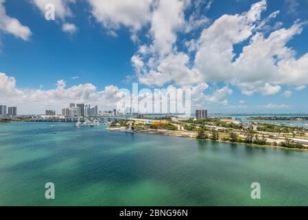 Miami, FL, United States - April 27, 2019: Miami City Skyline Wide angle at Biscayne Bay in Florida, United States of America.