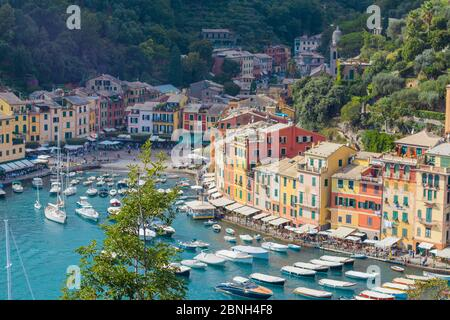 PORTOFINO, ITALY - Sep 28, 2019: View over the beautiful and colourful harbour of Portofino, Italy during summer of 2019 - Stock Photo