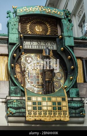 Ankeruhr (Anker clock), the famous astronomical clock in Vienna, Austria - Stock Photo