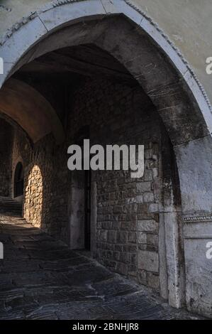 Impressions of the ancient Little town Motovun in Istria - Stock Photo