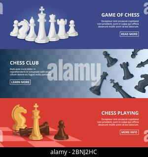 Horizontal banners set with illustrations of chess. Vector design template with place for your text - Stock Photo