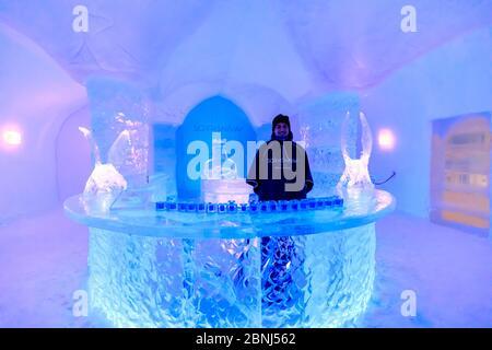 Sorrisniva Igloo Hotel, snow or ice hotel in winter, striking sculpture, ice bar, Alta, Finnmark, Arctic Circle, North Norway, Scandinavia, Europe - Stock Photo