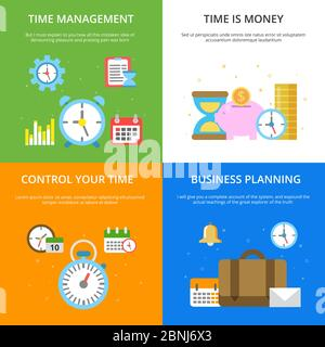 Concept illustrations at time management theme. Vector pictures in modern flat style - Stock Photo