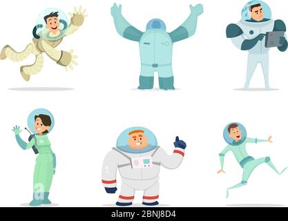 Space characters. Mascots of astronauts in cartoon style - Stock Photo