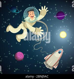 Astronaut in open space with shuttle and some planets. Vector cartoon background - Stock Photo