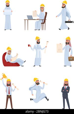 Arabic builders. Characters set isolate on white background - Stock Photo