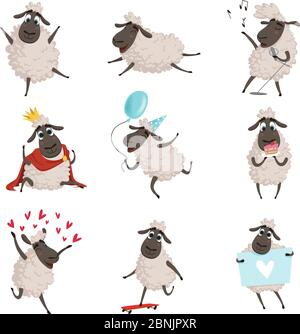 Cartoon farm animals. Sheep playing and making different actions. Vector characters set isolate on white - Stock Photo