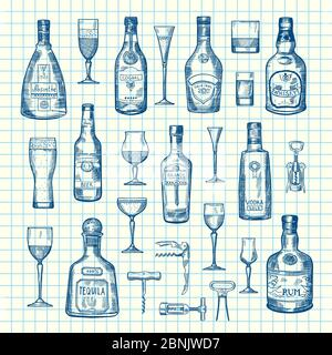 Vector hand drawn alcohol drink bottles and glasses set of on cell sheet illustration - Stock Photo