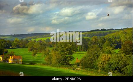 Landscape of Hambleden Valley, Buckinghamshire, UK October 2006. - Stock Photo