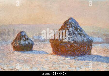 Wheatstacks, Snow Effect, Morning (Meules, Effet de Neige, Le Matin) by Claude Monet (1840-1926), oil on canvas, 1891 - Stock Photo