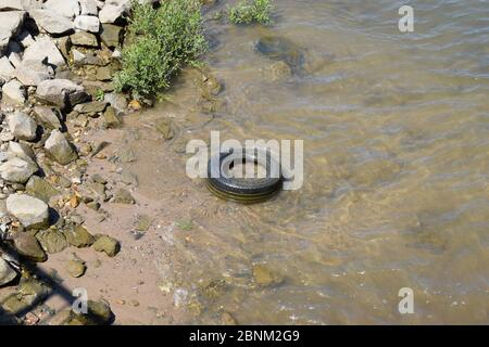 tire in the river - Stock Photo