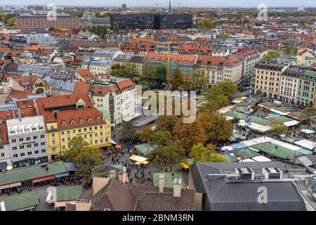 Europe, Germany, Bavaria, Munich, view from the church tower of the Peterskirche to the Viktualienmarkt - Stock Photo