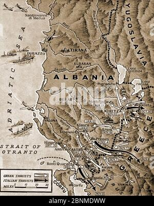 WWII -  A pictorial map from 1941 showing events in the Albanian Campaign 1940-1941. - Stock Photo