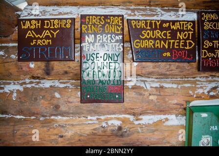 Signs at Beaver Brook Shelter in the White Mountain National Forest of New Hampshire. This Adirondack-style shelter is located along the Beaver Brook - Stock Photo