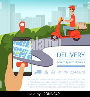 Order delivery online. Shipment tracking system mobile delivery man motorcycle fast shipping pizza box urban landscape. Vector picture - Stock Photo