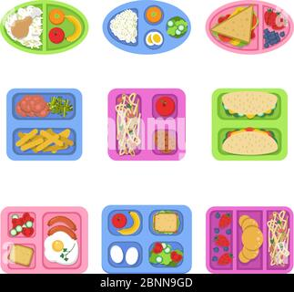 Lunch boxes. Food containers with fish, meal eggs sliced fresh fruits vegetables sandwich for kids breakfast. Vector flat illustrations - Stock Photo