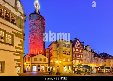 Christmas market, town hall, market tower, blue hour, Christmas decoration, Kitzingen, Franconia, Bavaria, Germany, Europe Stock Photo